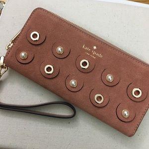 kate spade suede pearl embellished wristlet wallet